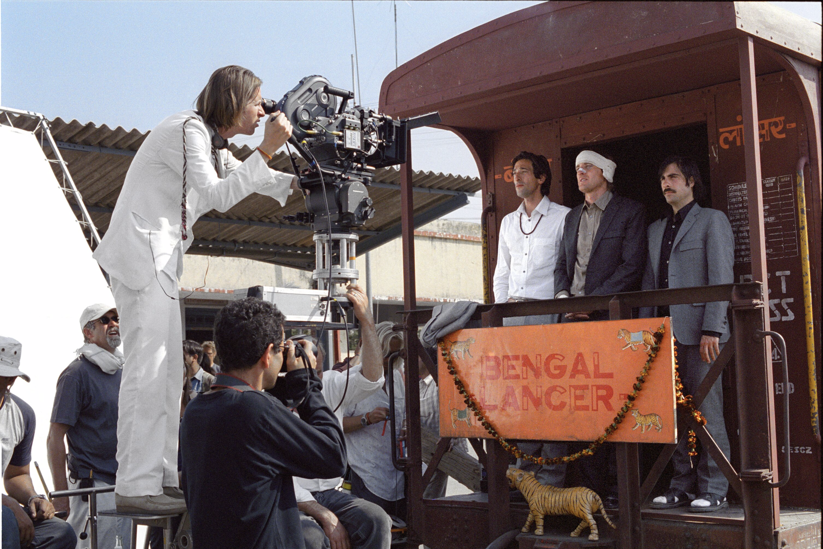 Wes Anderson blocking a scene with Adrien Brody, Owen Wilson and Jason Schwartzman, Rajasthan, India, 2007