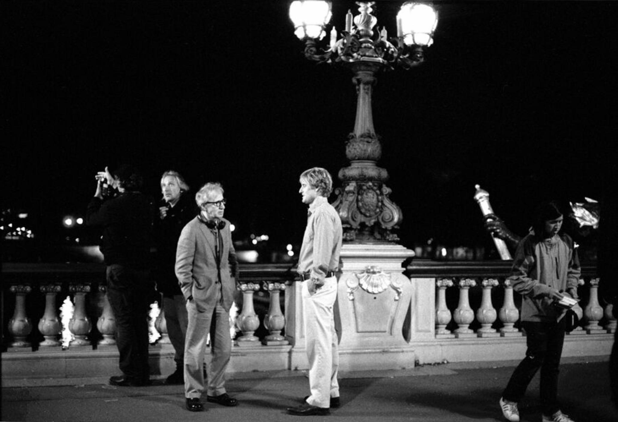Woody Allen and Owen Wilson, on set in Midnight in Paris, Paris, France, 2010