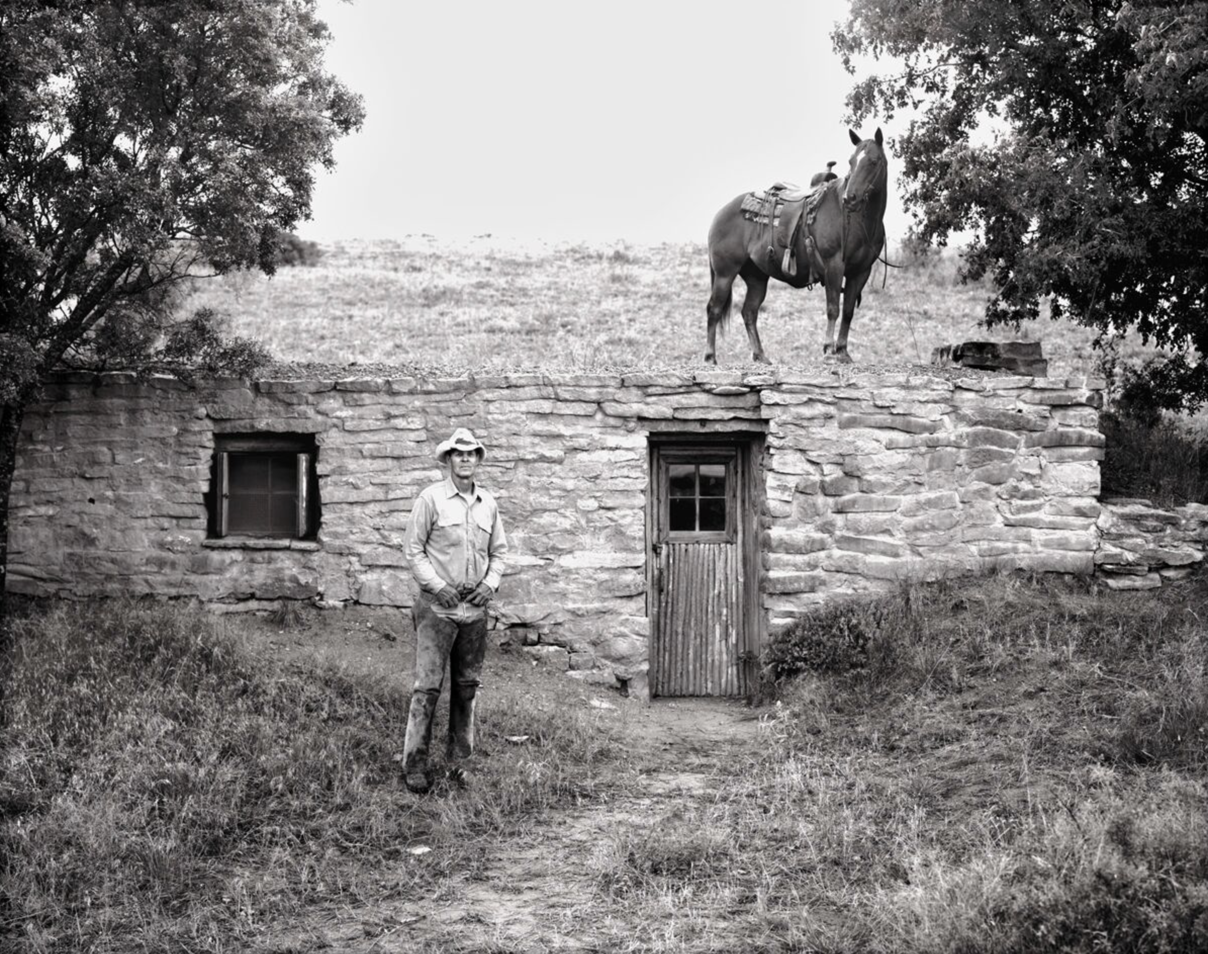 Frank Perry at Dugout House, Lambshead Ranch, Albany, Texas, 1988