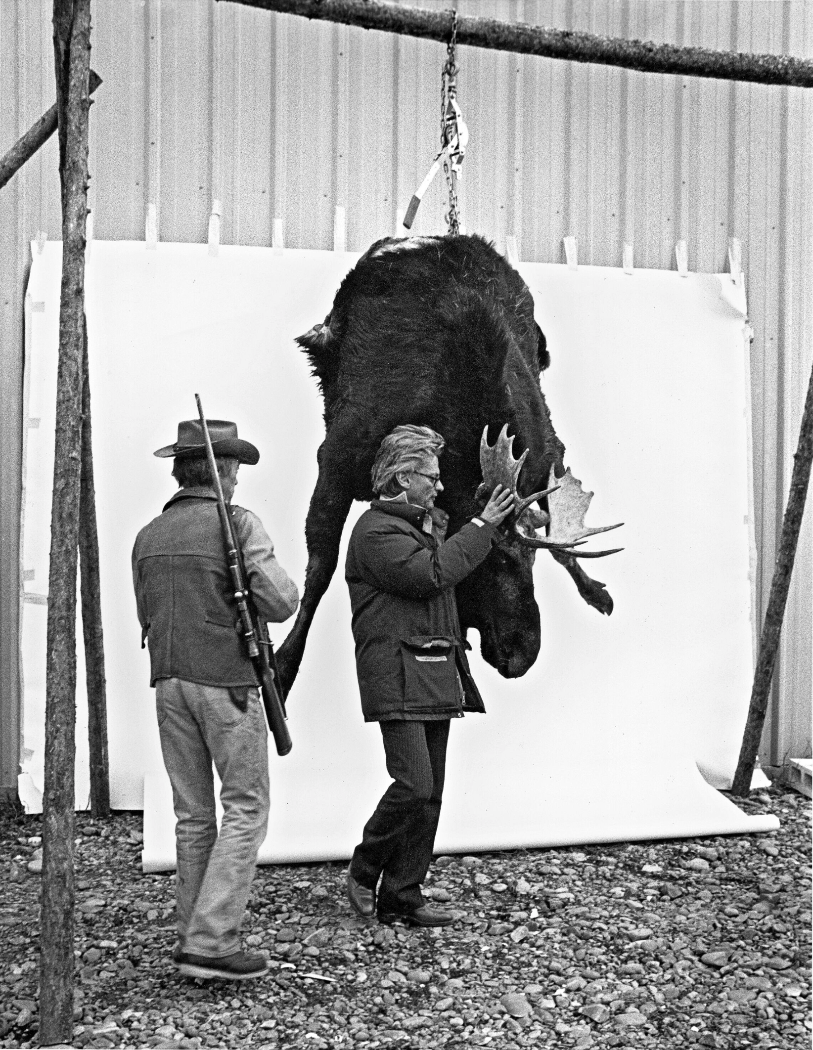 Richard Avedon with Hunter and Moose, Wilson, Wyoming, 1982