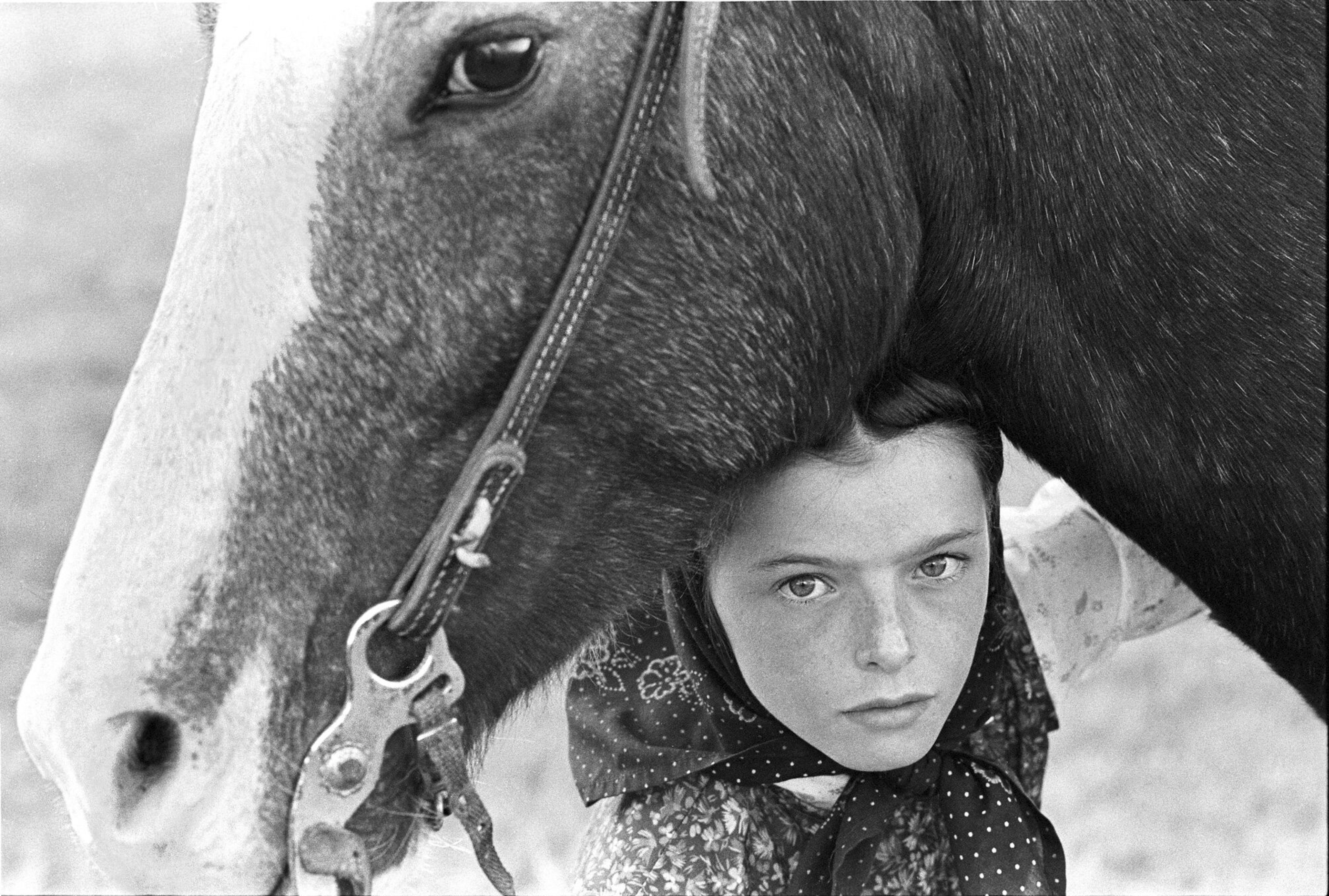 Hutterite Girl With Her Horse, Chattahoochee, Surprise Creek Colony, 1992